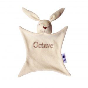 Doudou bio lapin personnalisé Octave Alexia Naumovic